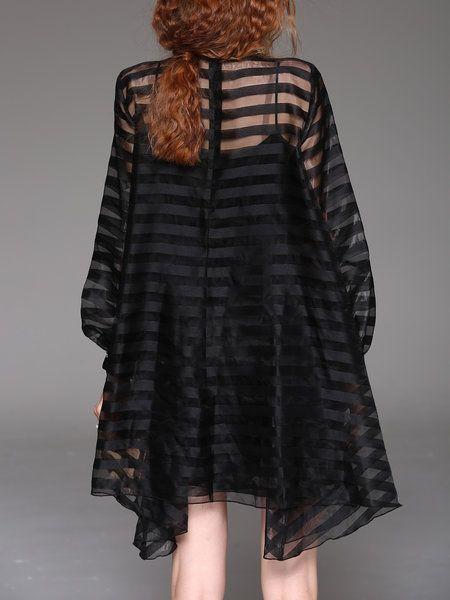 Black See-through Look Long Sleeve Asymmetrical Stripes Mini Dress