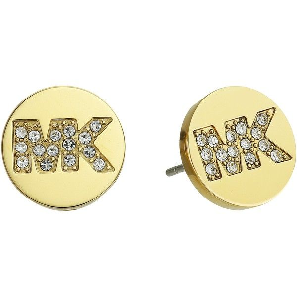 Michael Kors Logo Stud Earrings (Gold) Earring ($46) ❤ liked on Polyvore featuring jewelry, earrings, gold, holiday jewelry, evening earrings, clear stud earrings, yellow gold stud earrings and yellow gold earrings