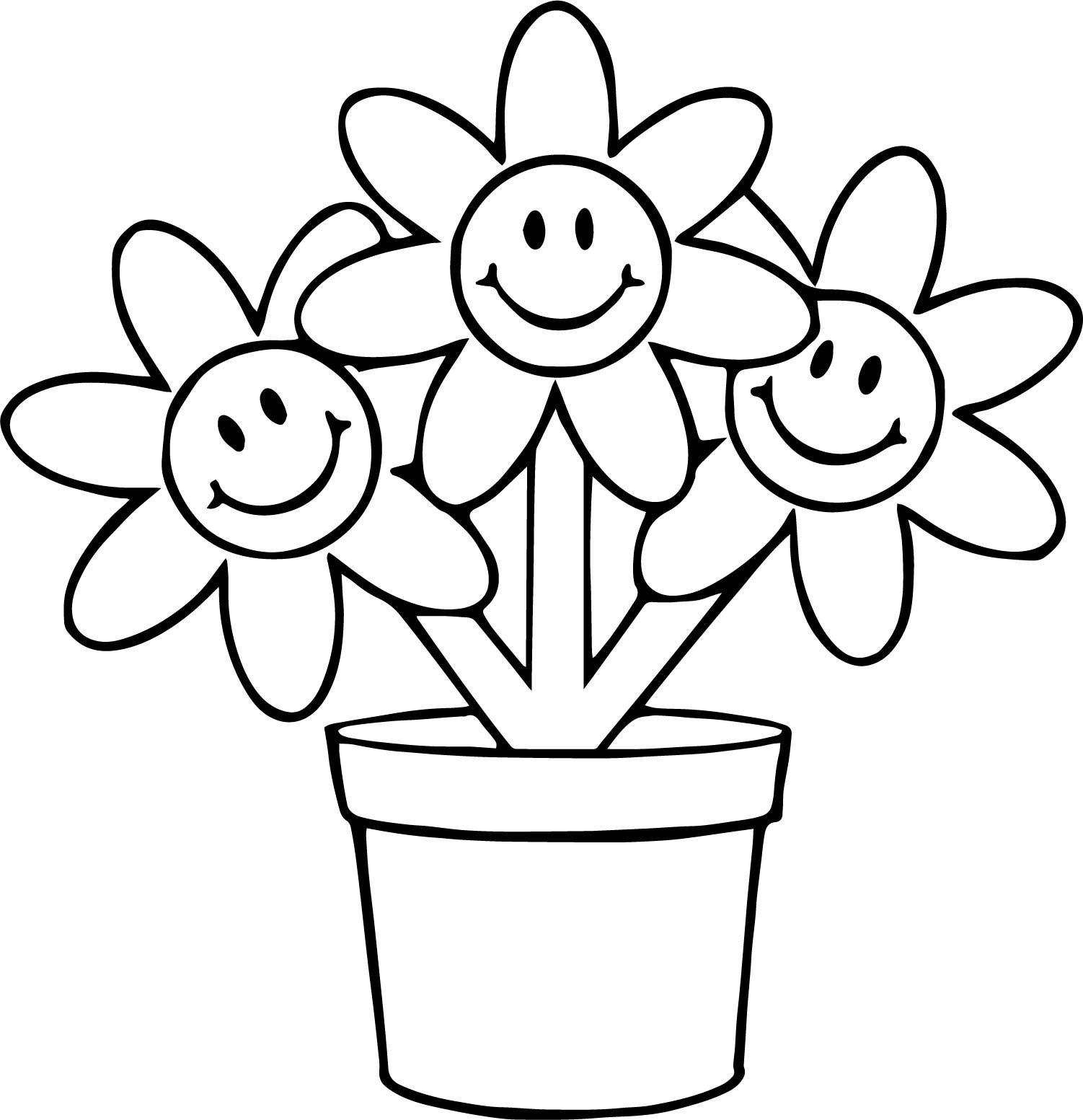 Nice Three Flower In Pot Cartoon Funny Coloring Page