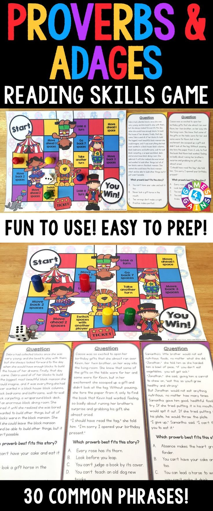 hight resolution of Proverbs and Adages Task Cards Game {Figurative Language Activity}    Figurative language