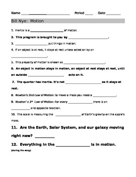 Bill Nye Motion Guide Sheet | Bill nye, Motion video and Worksheets