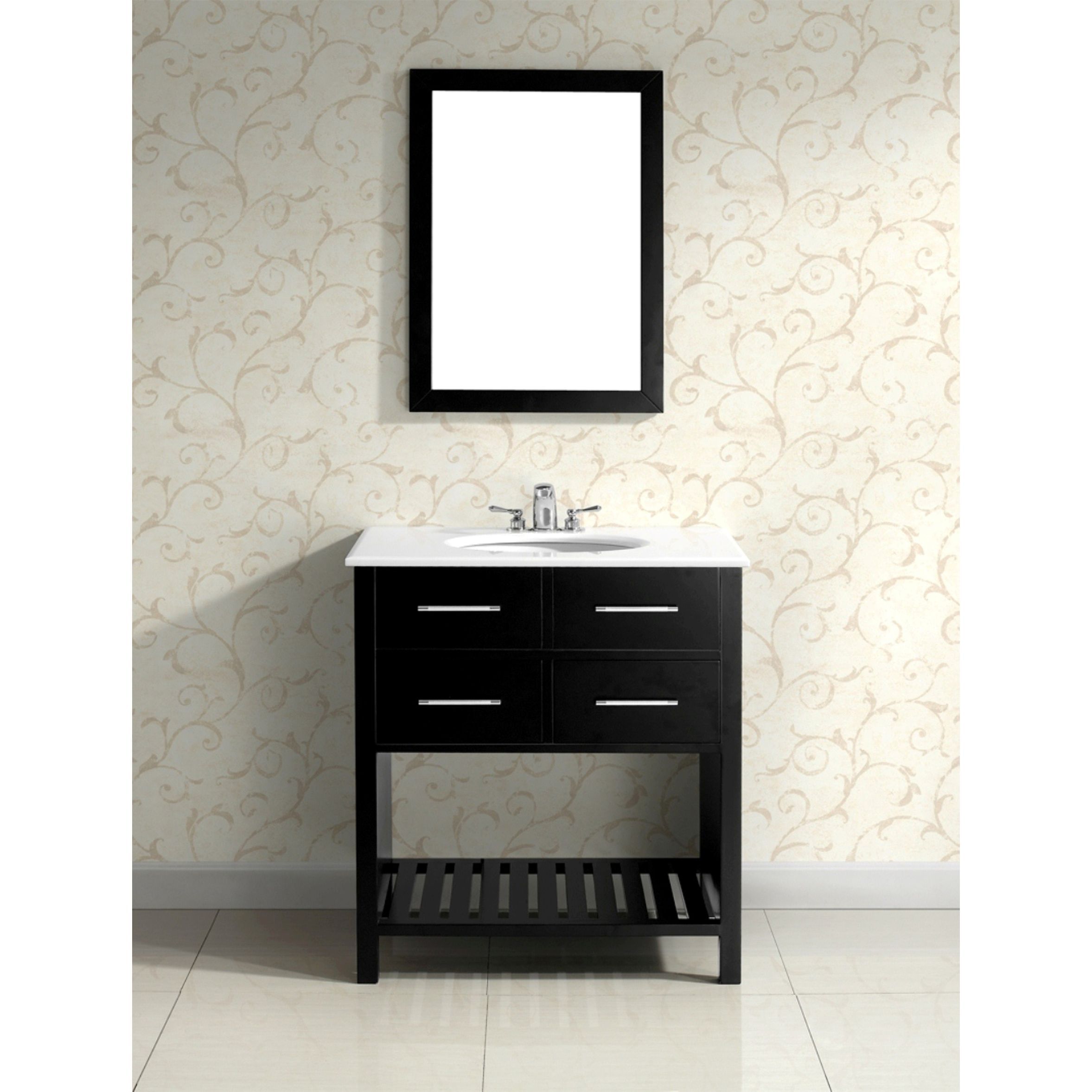 This 30-inch Manhattan Vanity is defined by its black finish, chrome pulls, clean lines and contemporary look. This attractive vanity offers plenty of storage in its two functional drawers and large open bottom shelf.