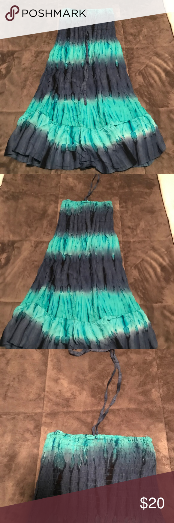 59afccd10c Smocked Blue Teal Dress PERFECT BEACH COVER UP India Boutique One Size Tie  Dye Smocked Dress Optional Halter India Boutique Swim Coverups