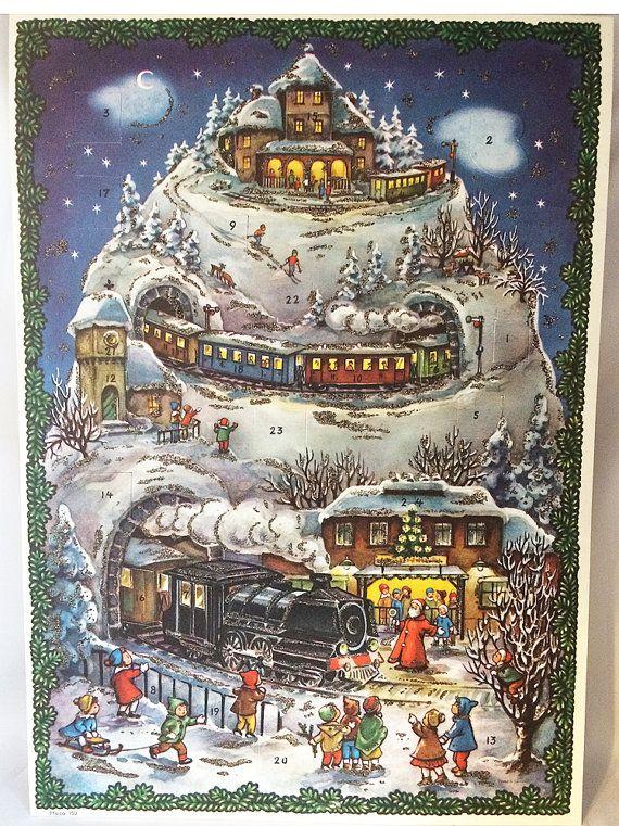 1940s Vintage German Advent Calendar Trains Santa Glittery Mountain Scene W Original Mail German Advent Calendar Christmas Advent Calendar Advent Calenders
