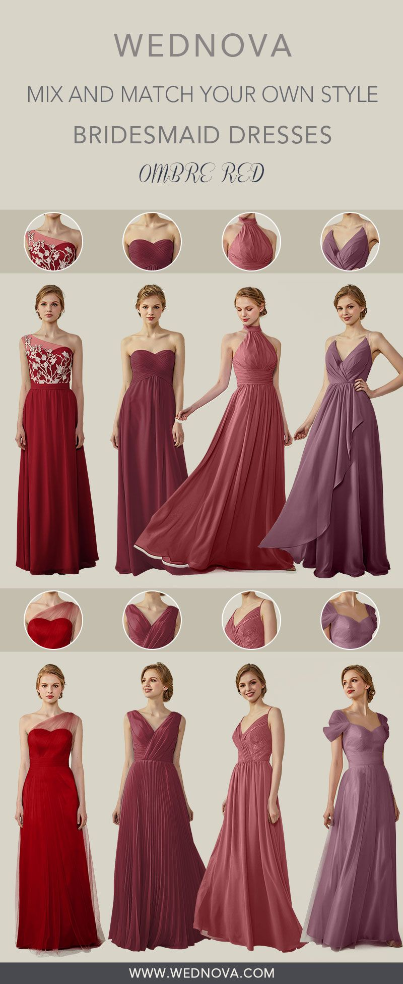 Fall amazing halter bridesmaid dress straps dresses ombre red mix