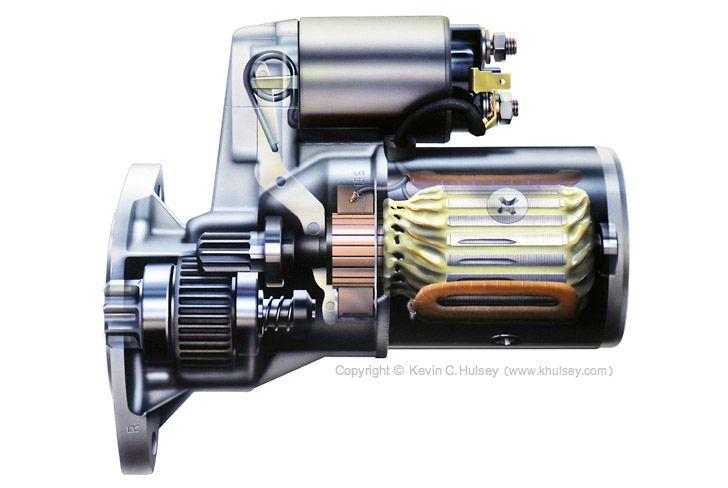 Car Engine Cutaway Stock Illustrations Car Engine Car Starter