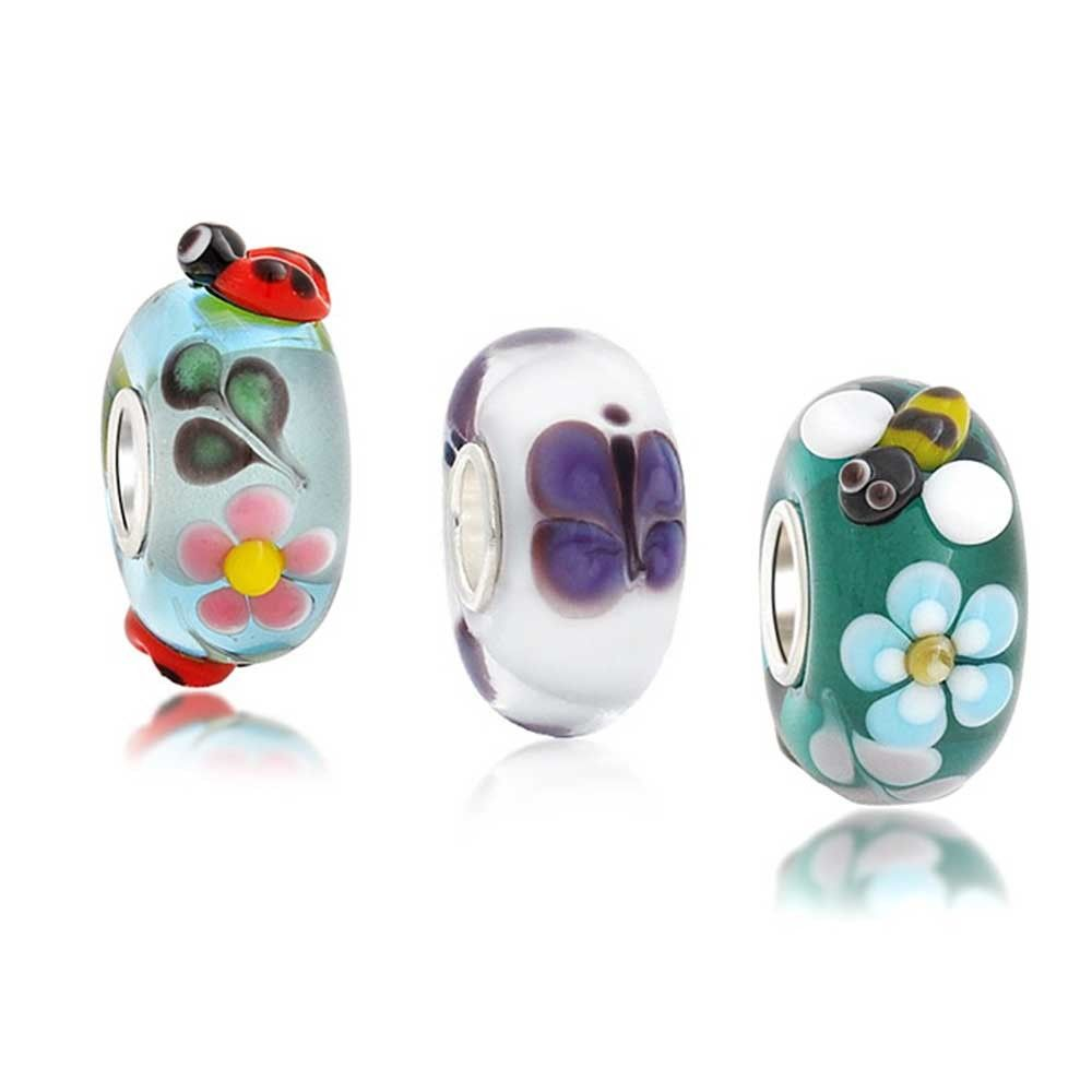 Bling Jewelry 925 Silver Teal Bee Flower Murano Glass Bead Charm COUNm3SpN4