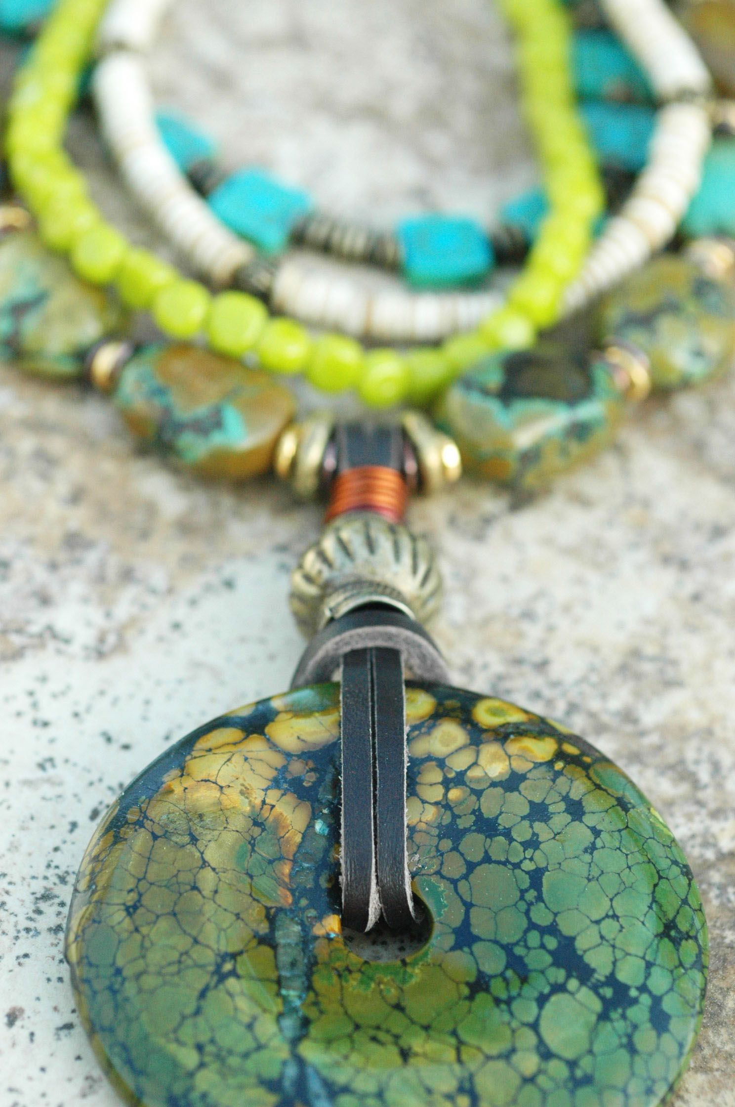 Tortuga Necklace: Exotic and Stunning Green Blue Turquoise, Chartreuse Glass, Carved Aqua Blue Glass, Bone and Green Tortoise-like Turquoise Donut Pendant Necklace $395