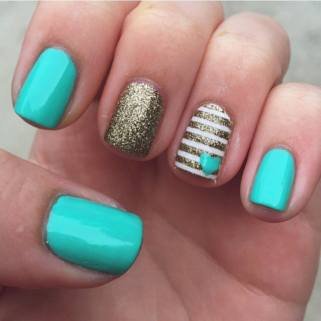 Tiffany blue nails with gold accents - Tiffany Blue Nails With Gold Accents Nailed It! Pinterest