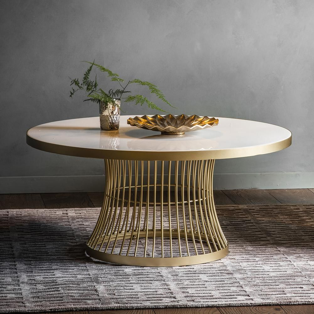 Edna Coffee Table Champagne Gold Coffee Table Round Metal Coffee Table Marble Round Coffee Table [ jpg ]
