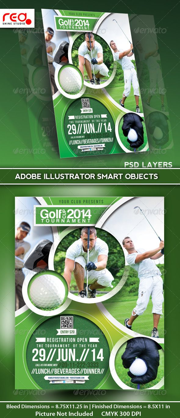 Golf Tournament Flyer Poster Magazine Template – Sports Flyers Templates Free