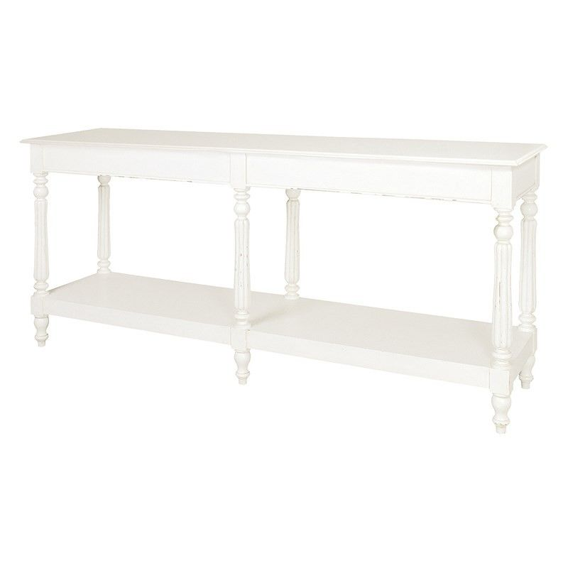 Charming Chateau Antique White Painted French Louis XV Hall Table