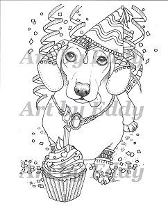 Art of dachshund single coloring page happy birthday - Dessin teckel ...
