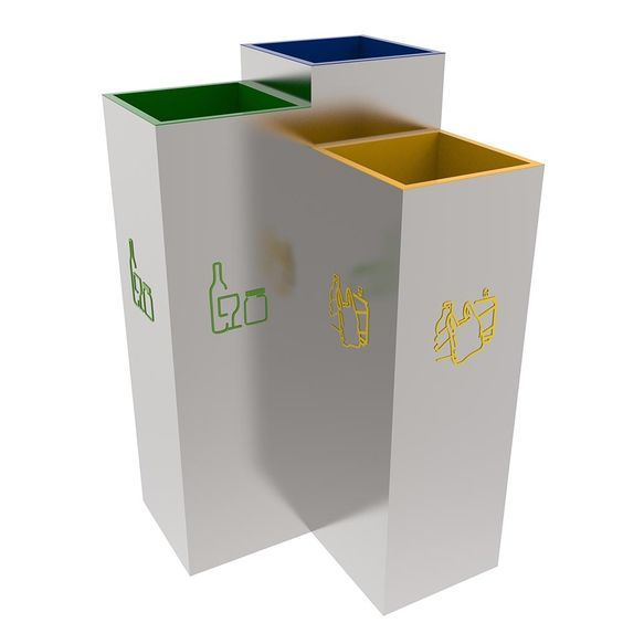 Recycling Bins For Small Spaces Part - 45: BERGEN Stylish Design Recycling Litter Bins Station For Public Spaces 3x30L  This Stylish Design Recycling Bin