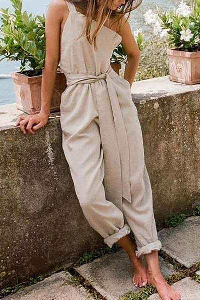 One-Shoulder Sleeveless Belt Cotton And Linen Jumpsuit #casualjumpsuit
