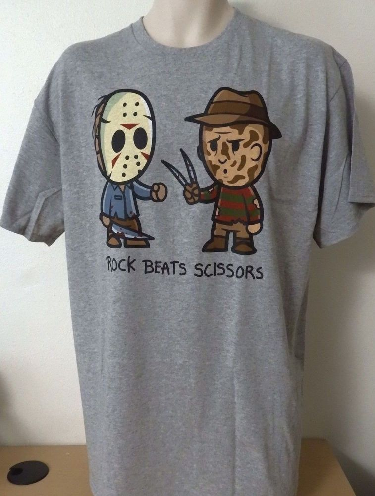 Jason Voorhees Freddy Krueger Rock Beats Sissors T Shirt Mens Xl