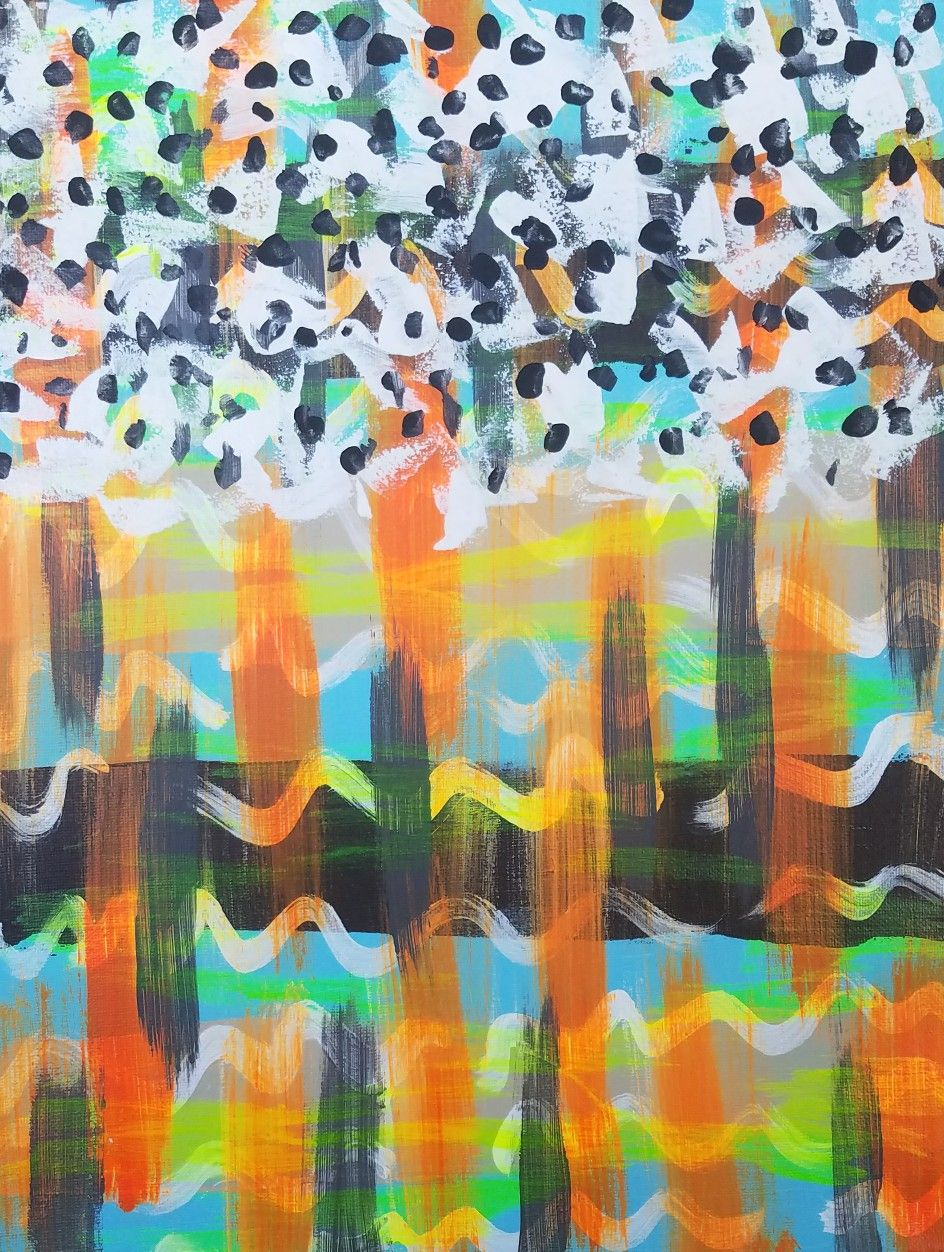 Orange blue white brown and gray original acrylic abstract