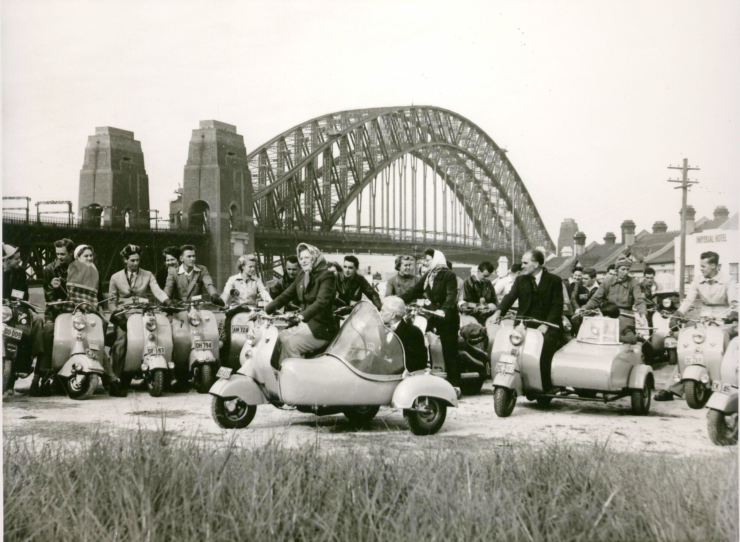 The Sydney Motor Scooter Club were setting out on one of their regular weekend outings.  August 1955.  Photo by Sue Paton
