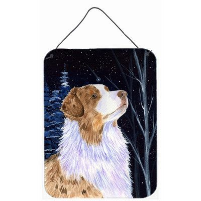 Caroline's Treasures Starry Night Australian Shepherd by Suzanne Staines Painting Print Plaque