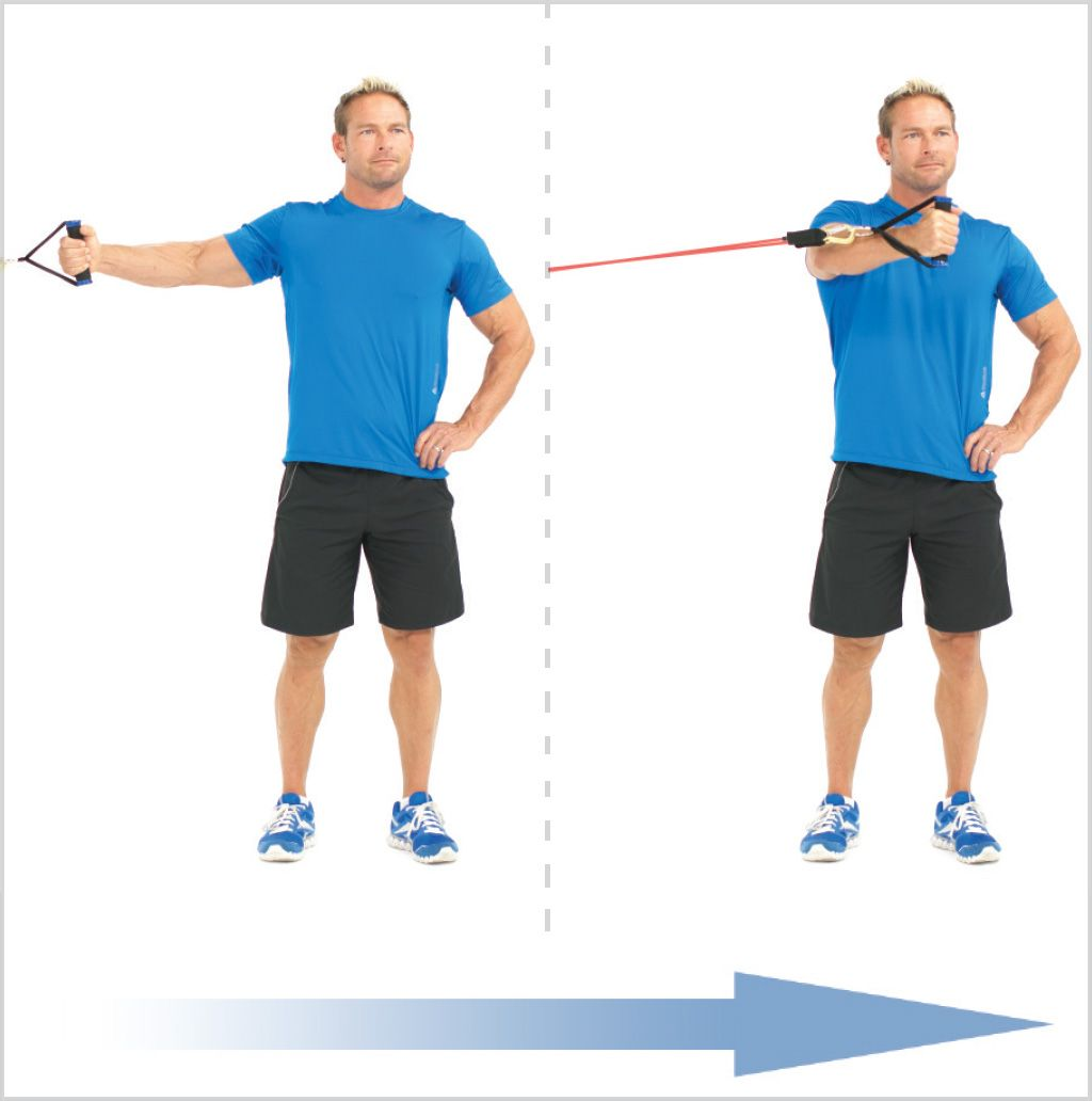 Standing One Arm Chest Fly With Elastic Resistance Bands