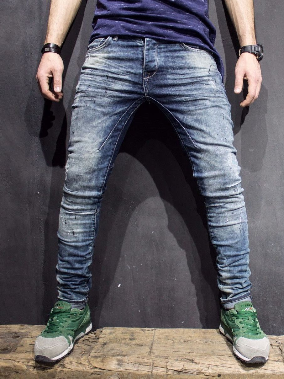 P V Men Slim Fit Distressed Paint Stains Jeans Washed Blue Ripped Jeans Men Slim Fit Men Mens Outfits