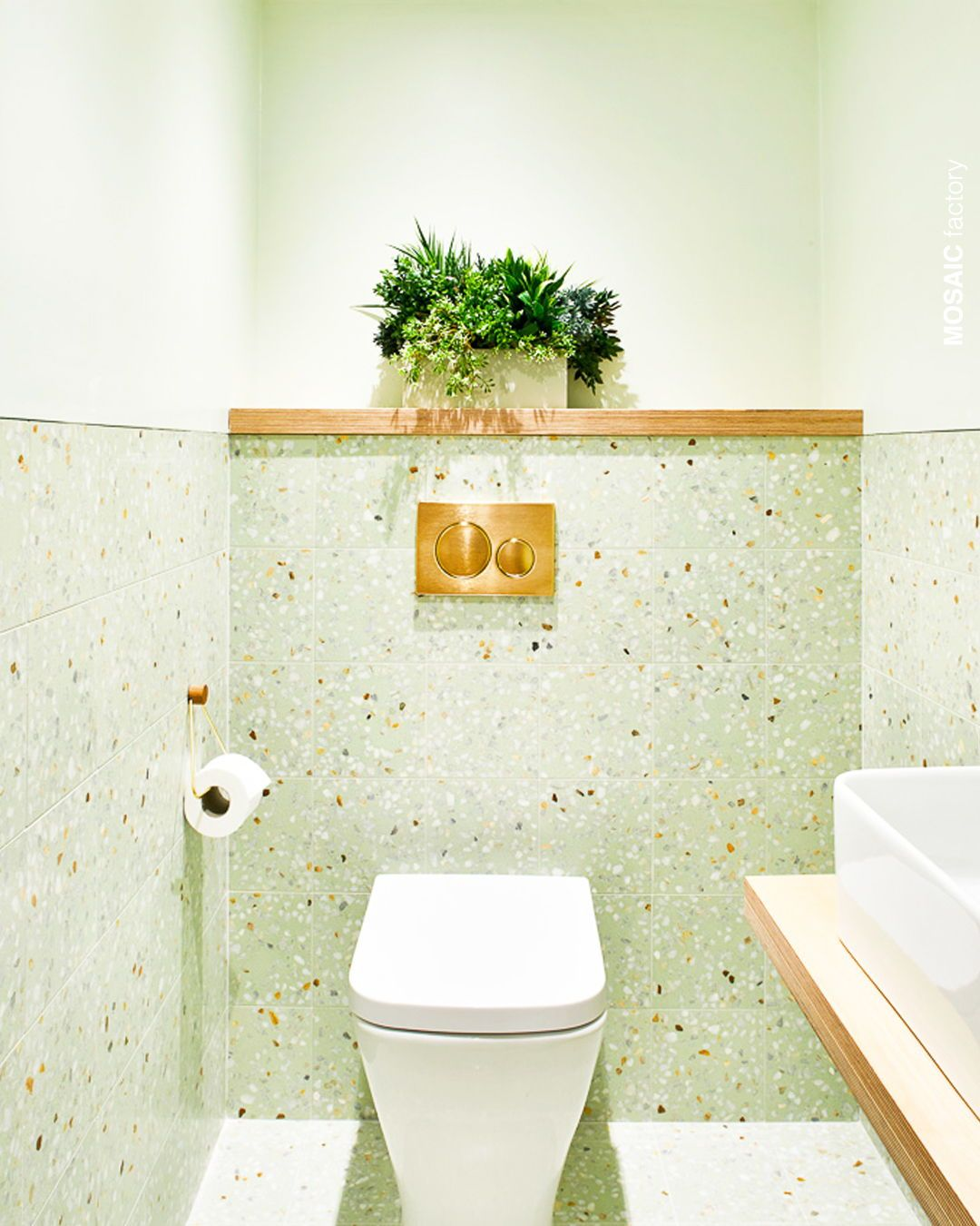 Green Bathroom Wall Cladding With Terrazzo Tiles From Mosaic