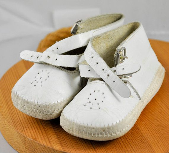 301b915ffd6cb Vintage Leather Baby Shoes | 1940s Antique White Leather Baby Shoes ...