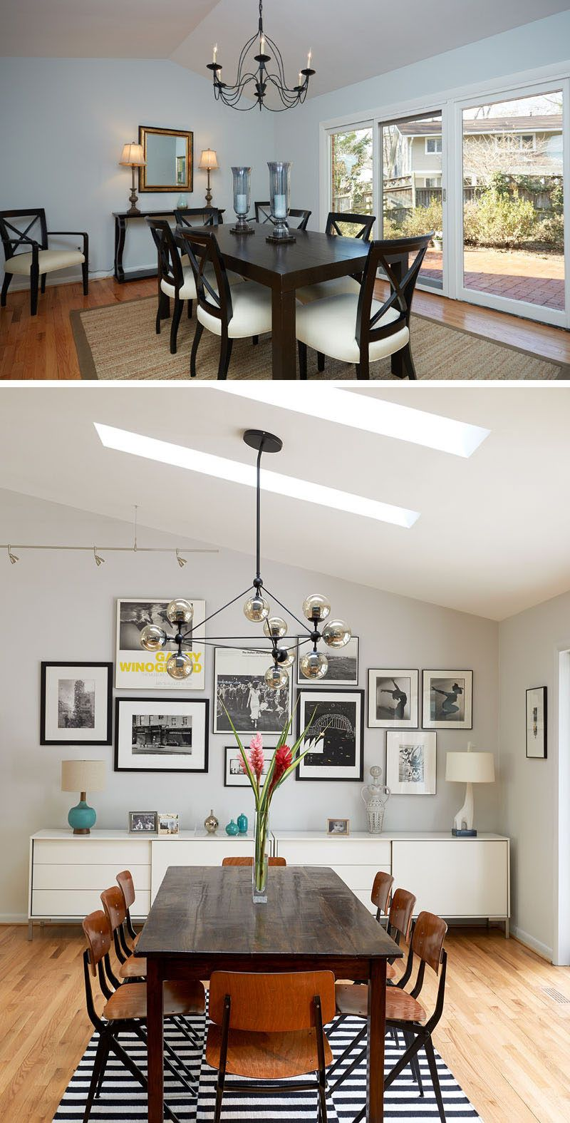 BEFORE & AFTER - In this updated dining room, a black and white ...