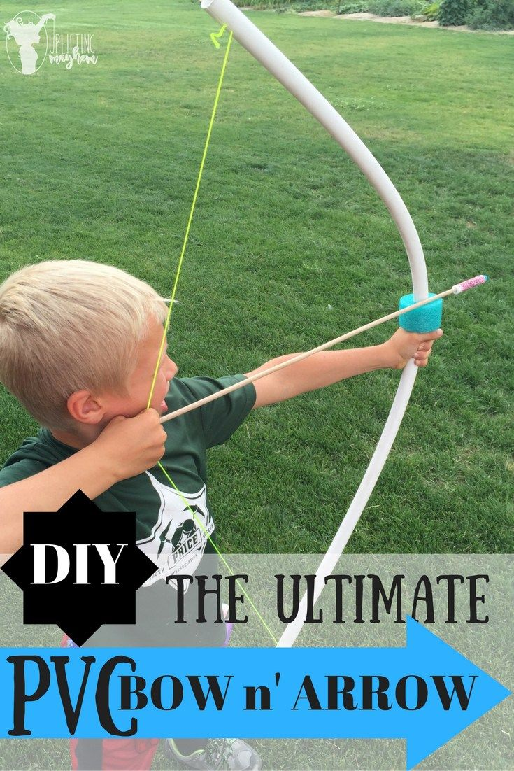Make your own PVC Bow and Arrow! Seriously the kids played with these all day…