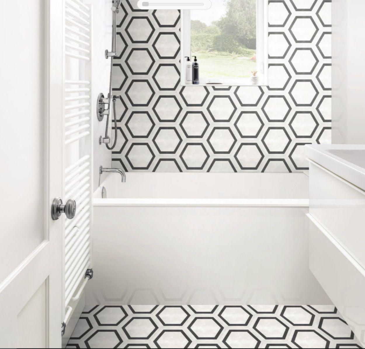 Form 8 X 7 Framed Hexagon Ivory Matte Finish Porcelain