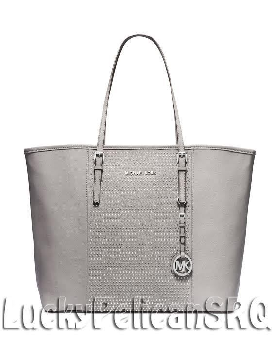 44d5354e6f8813 Michael Kors Microstud Center Stripe Medium Travel Tote Bag Pearl Grey NWT # MichaelKors #TotesShoppers