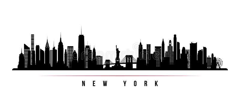New York City Skyline Horizontal Banner Black And White Silhouette Of New York Sponsored New York Skyline Silhouette City Skyline Silhouette City Skyline