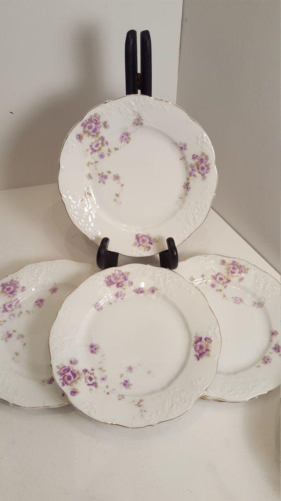 Herman Ohme salad/dessert/bread plates with purple flowers; antique fine china; & Herman Ohme salad/dessert/bread plates with purple flowers; antique ...