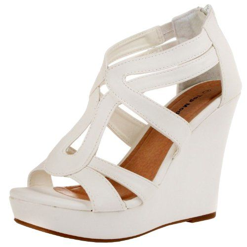 91cb9cb65574 JJF Shoes Lindy-3 White Strappy Nubuck PU Comfort Gladiator Dress Platform  High Wedge Sandals-6.5