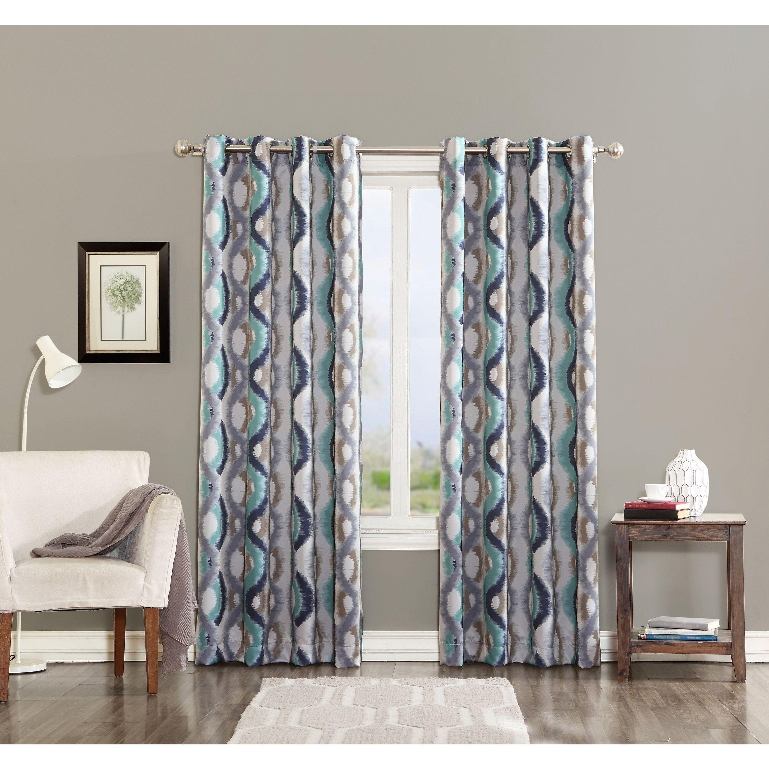 Sun Zero Watercolor Print Room Darkening Grommet Curtain Panel 95 Inches Linen Natural Polyester Geometric Panel Curtains Drapes Curtains Grommet Curtains