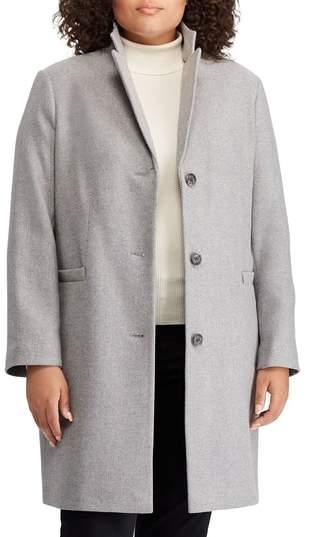 11586cb59aac2 Lauren Ralph Lauren Herringbone Wool Blend Reefer Coat