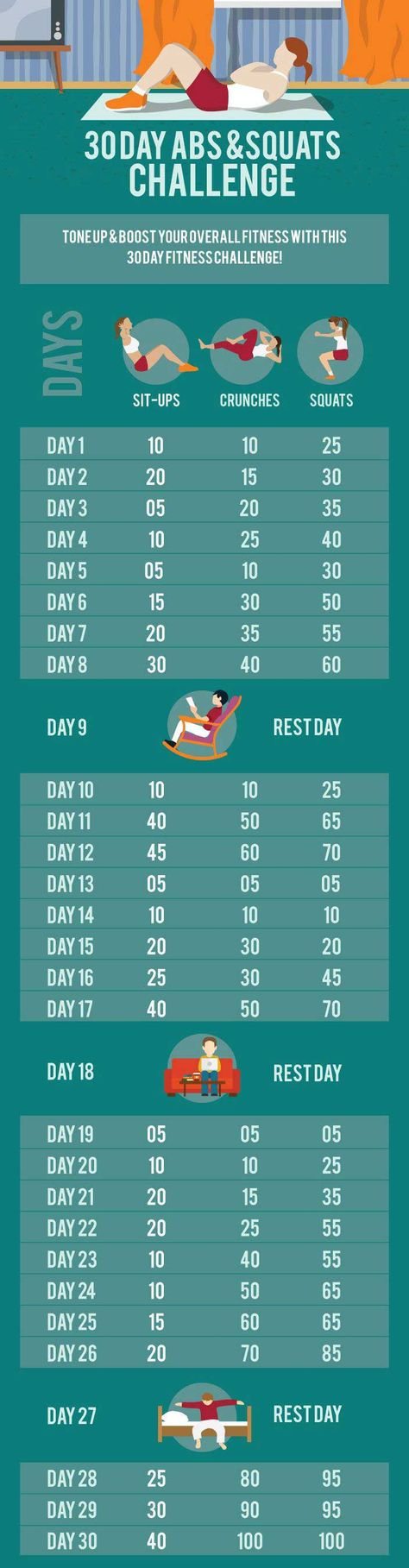 30 Day Ab & Squat Challenge - InspireMyWorkout.com - A