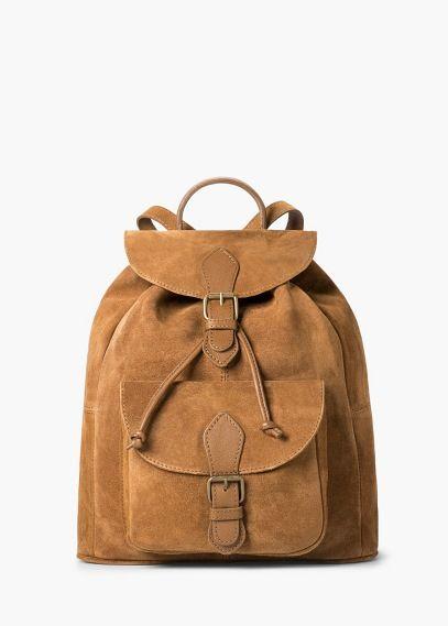 c71a024f1d Sac à dos croûte de cuir | MANGO | ++BAGS++ | Sac à dos cuir, Sac ...