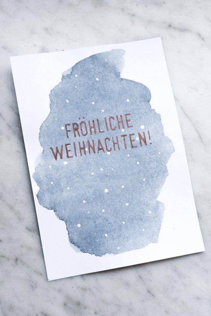 Aquarell Weihnachtskarten basteln | schereleimpapier DIY #cartedenoel