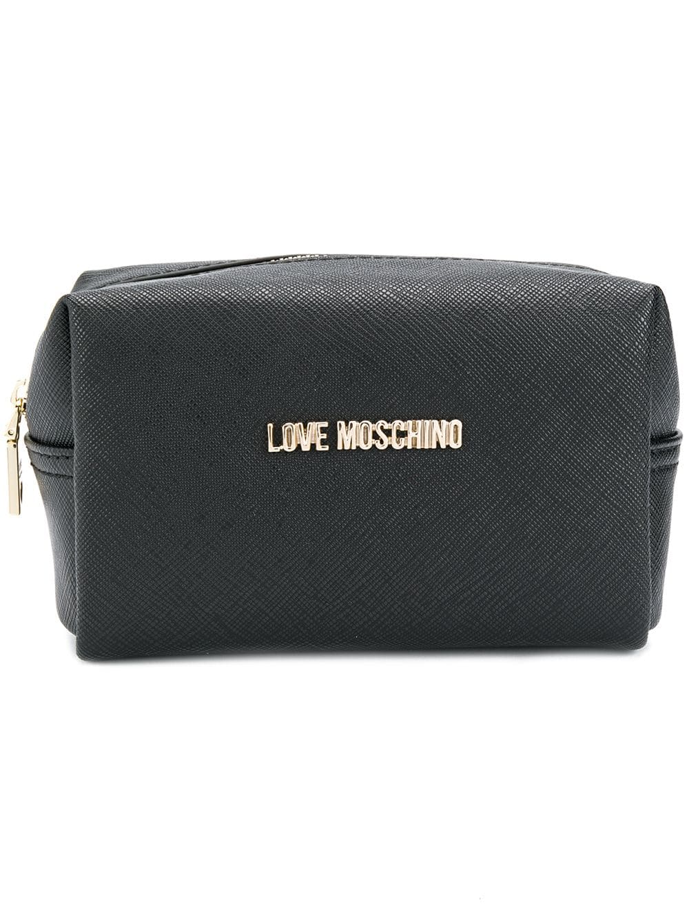 2ec1d79f0b Love Moschino saffiano wash bag - Black   Products in 2019   Bags ...