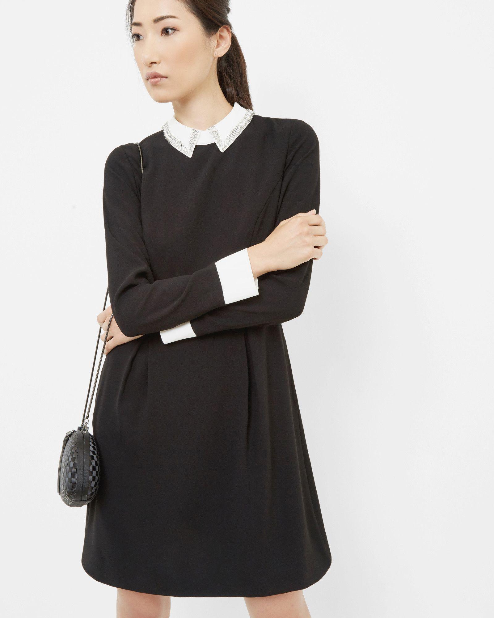 Embellished Collared Dress Black Dresses Ted Baker Designer Outfits Woman Fashion Dresses [ 2000 x 1599 Pixel ]