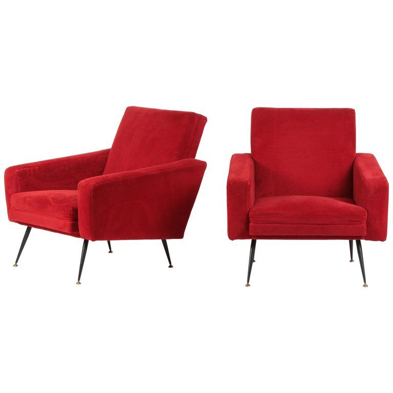 Marvelous 2 Original Italian Plush Lounge Chairs 1950S In 2019 Ocoug Best Dining Table And Chair Ideas Images Ocougorg