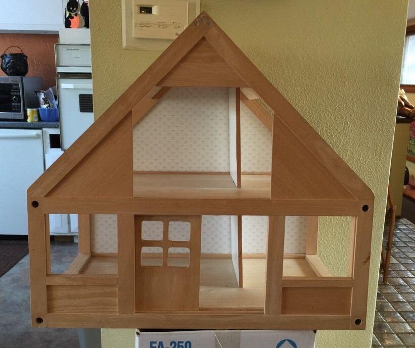 Retro Contemporary Plan Toys Dollhouse Solid Wood Sliding Door