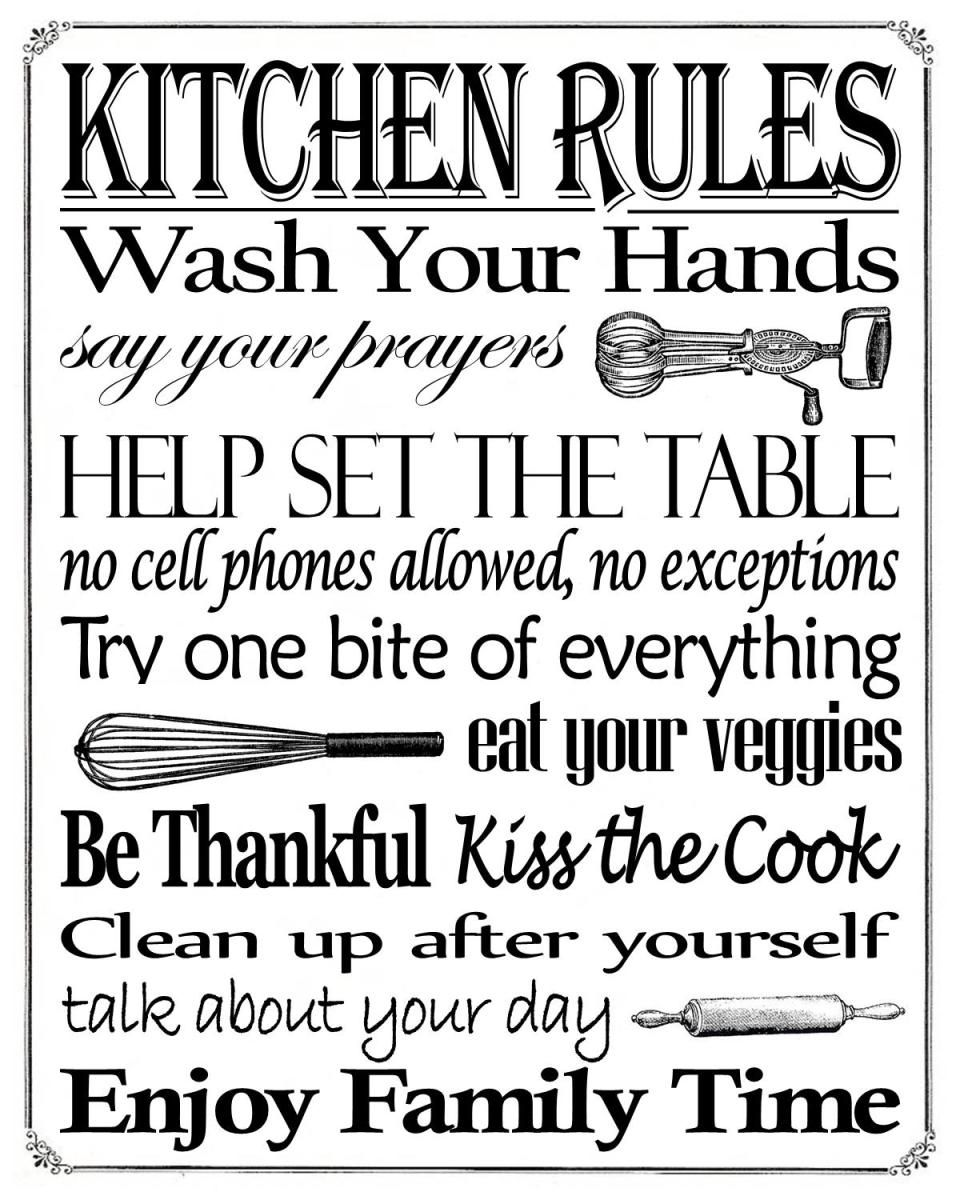 free printable friday enjoy this kitchen rules free printable in an 8 x 10 sign kitchen on farmhouse kitchen quotes free printable id=13496