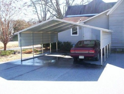 White Carport 2 Car Pull In Carport Cost Carport Metal Carports