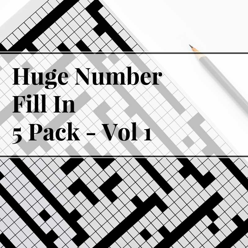 huge number fill in puzzle 5 pack vol 1