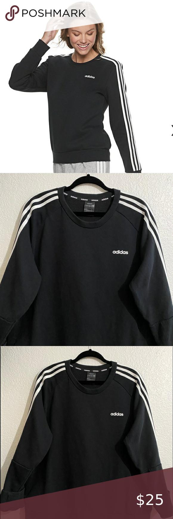 Adidas 3 Stripe Fleece Crew Neck Sweatshirt Grey Adidas Hoodie Adidas Cropped Hoodie Crew Neck Sweatshirt [ 1740 x 580 Pixel ]