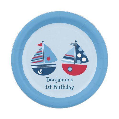 Nautical Sailboat Paper Plates  sc 1 st  Pinterest & Nautical Sailboat Paper Plates | Birthday party ideas
