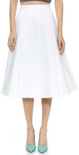 alice + olivia Box Pleat Midi Skirt