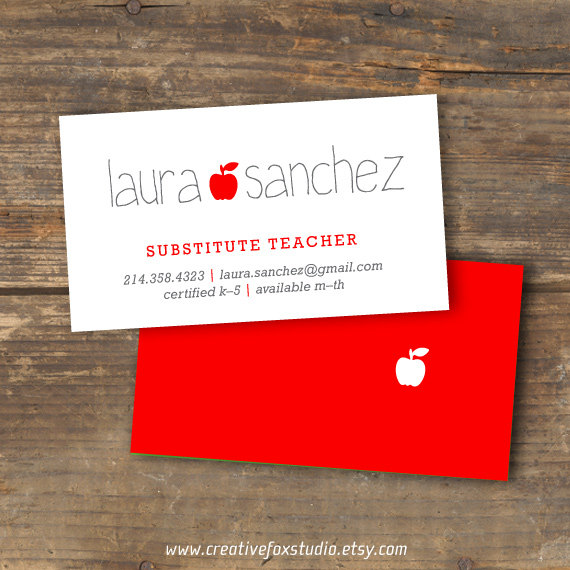 teacher or substitute business card by creativefoxstudio on etsy 1050 - Substitute Teacher Business Cards